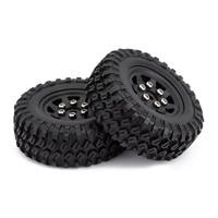 INJORA 4PCS 49*18mm Beadlock Micro Crawler Wheel Rims Tires Set for 1/24 RC Crawler Car Axial SCX24 90081 6