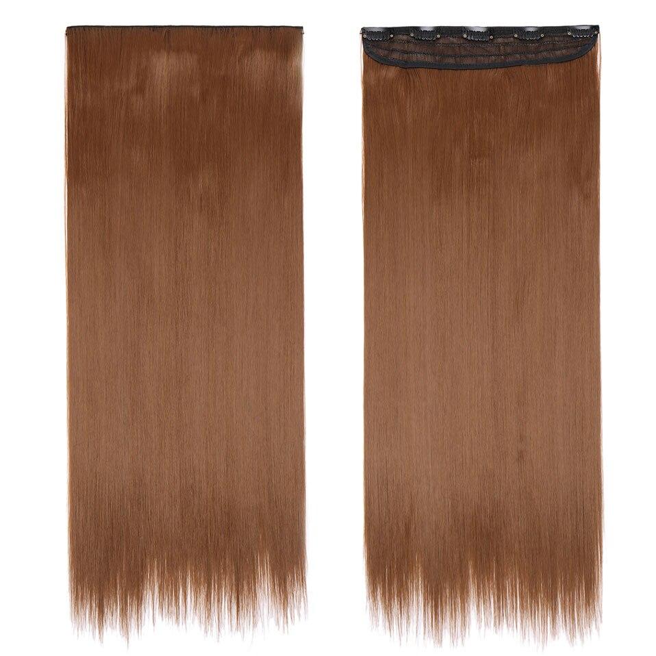 S-noilite, накладные волосы на заколках, черный, коричневый, натуральные, прямые, 58-76 см, длинные, высокая температура, синтетические волосы для наращивания, шиньон - Цвет: light brown