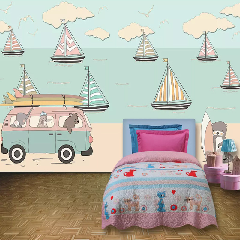 Blue Mediterranean CHILDREN'S Room Wallpaper Boys And Girls Bedroom Non-woven Wallpaper Cartoon Sailboat TV Backdrop