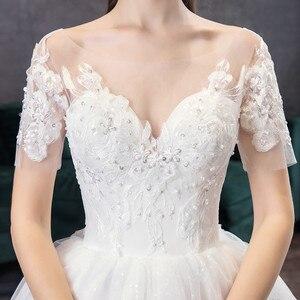 Image 5 - קלאסי שמפניה פשוט יוקרה 2021 חדש חתונת שמלה סקסי אשליה תחרה רקמה בתוספת גודל הכלה שמלת Robe דה Mariee L