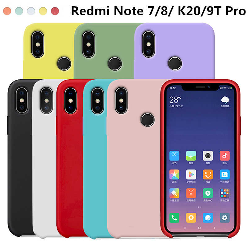 For Xiaomi Redmi Note 8 8T 7 6 5 K20 Mi 9T Pro 8A 7A Liquid Silicone Soft Case For Xiaomi Mi 9 8 SE Lite 6X Mix 2s 3 Case Cover
