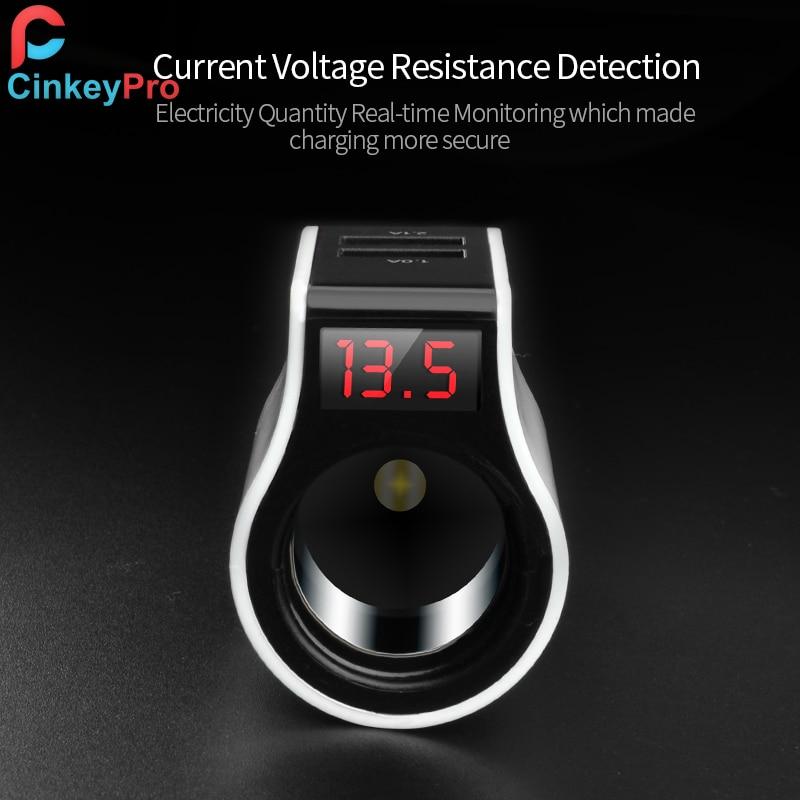 CinkeyPro 2-Port USB Car-Charger untuk iPhone Samsung Car Charger LED - Aksesori dan suku cadang ponsel - Foto 5