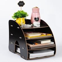 Wood DIY  Color Office Desk Organizer Document File Cabinet Multifunction Desk Accessories Storage Magazine Book Desk Shelf