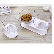 OUYXR Cat Double Bowl Dog Transparent AS Material Non-slip Food With Protection Cervical