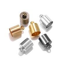 Bouchons d'extrémité adaptés aux glands de cordon en cuir, bouchons à sertir, perles, fournitures pour la fabrication de bijoux, bricolage, 3 4 5 6 7 8 9 10mm, 50 pièces/lot