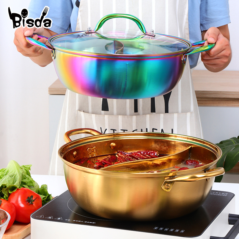 Hot Pot Twin Divided Stainless Steel Cooking Pot  Kitchen Utensils Single-Layer Compatible Soup Stock Pots Home Restaurant Tools