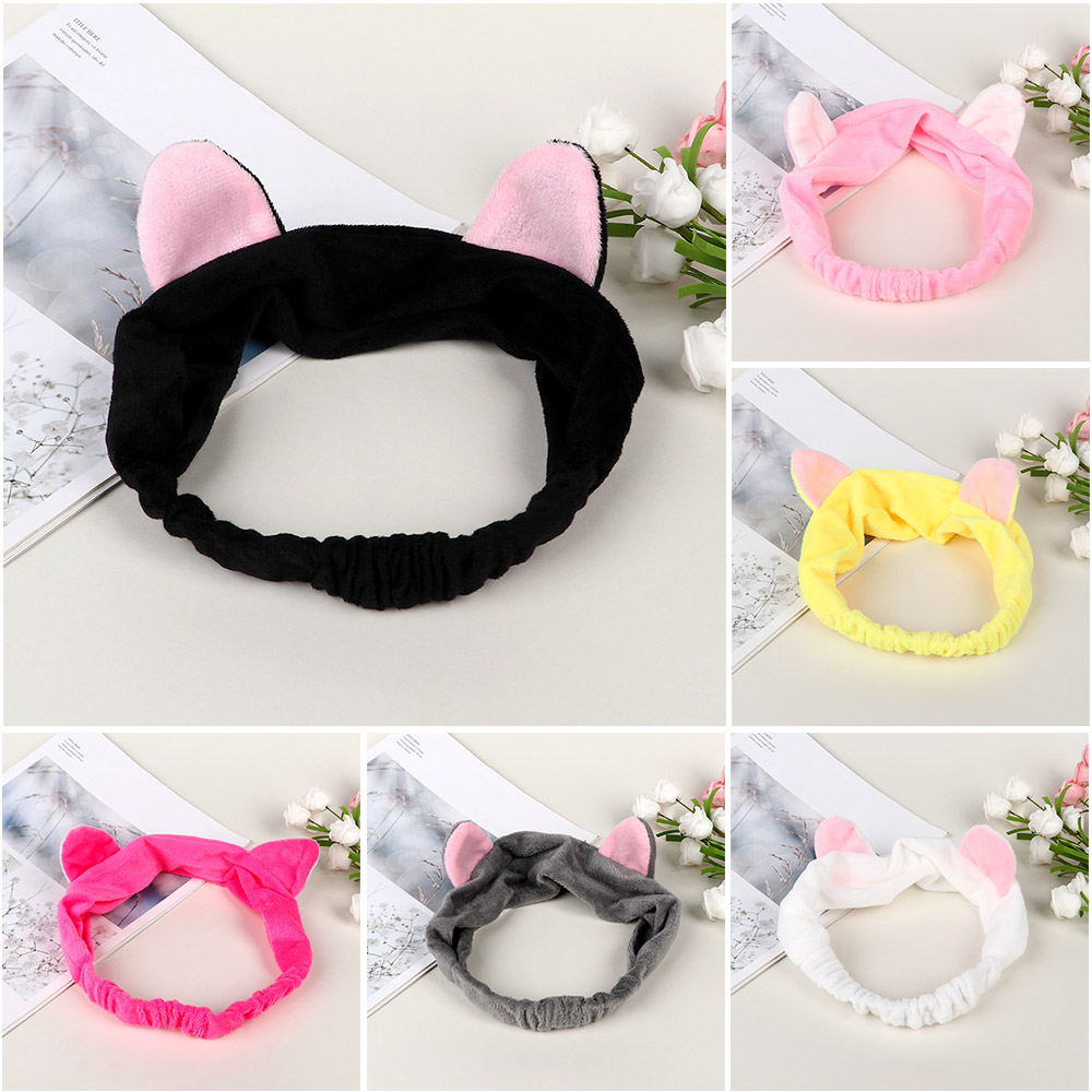 Cute Cat Ears Elastic Soft Headband For Washing Multicolor Makeup Tool Face Cleaing Hairband For Women Girls Wash Shower Cap
