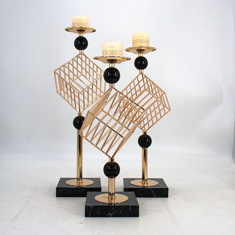 Bougeoir romantique ornements Durable décor à la maison Structure en fer support de Table accessoires fête faveurs forme géométrique chandelier