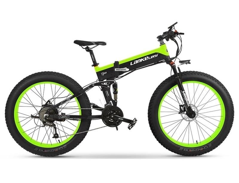"26"" Fat Tire Folding Electric Bicycle Shimano 27 Speed 48V Snow Mountain Beach E-Bike"