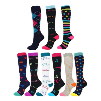 Knee High Long Printed Compression Socks for Women and Men to Improve Blood Flow Helps to Relief Pain