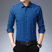 Синяя белая Клетчатая Мужская Классическая Повседневная рубашка высокого качества из 100% хлопка мужская рубашка с длинным рукавом 4XL