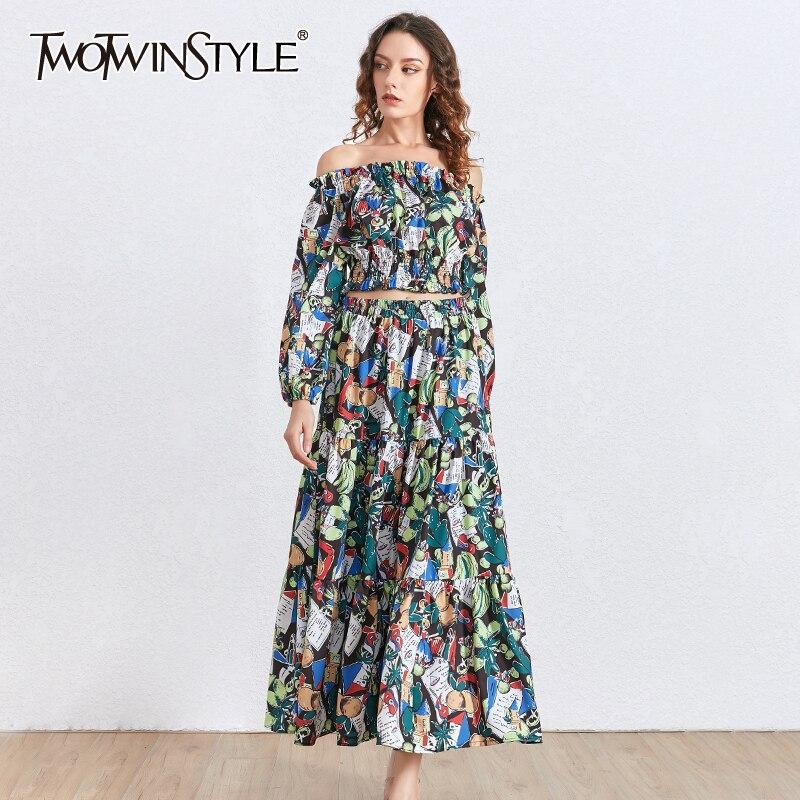 TWOTWINSTYLE Print Two Piece Set Women Slash Neck Lantern Sleeve Short Tops High Waist Skirt Hit Color Suit Female 2020 Clothing