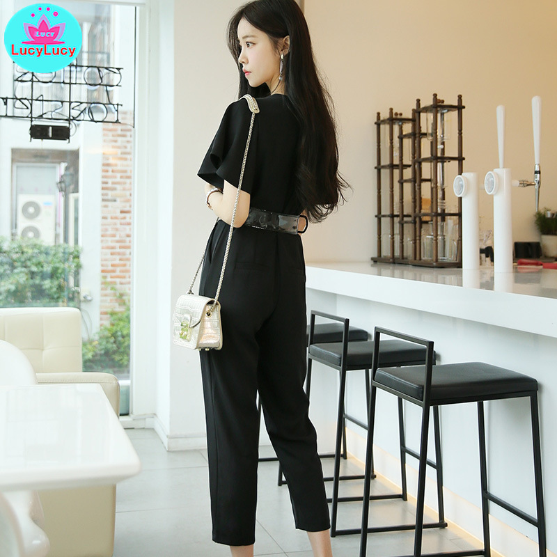 2019 summer new temperament was thin V neck fashion nine points small feet jumpsuit Polyester Jumpsuits in Jumpsuits from Women 39 s Clothing