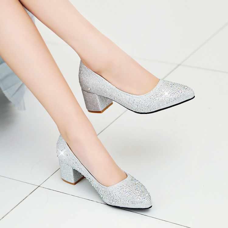 Plus Kích Thước 11 12 13 14 Nữ Giày Cao Gót Nữ Giày Nữ Người Phụ Nữ Bơm Chỉ Nông Vược Miệng Đơn Giày