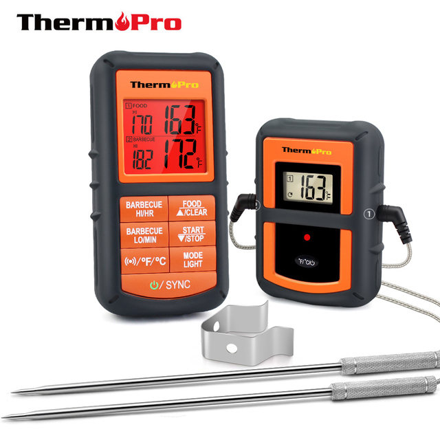 ThermoPro TP 08Sเครื่องวัดอุณหภูมิแบบไร้สายระยะไกลจาก300ฟุตครัวBBQ Smoker Grillเตาอบ