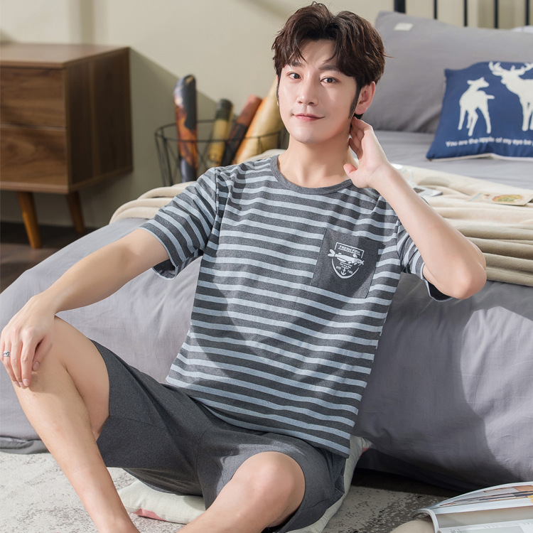Pajamas Men's Summer Pure Cotton Short Sleeve Thin Teenager Spring And Autumn Men Homewear Set Summer Pullover 2021 Gray