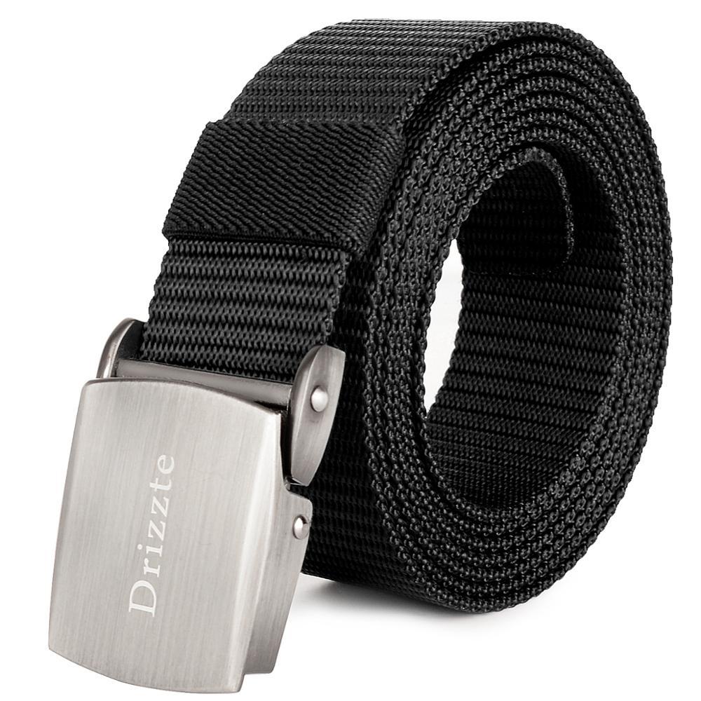 Drizzte 120-180cm Plus Size Men/'s Black Nylon Belt Metal Buckle 3.1cm Width Belt