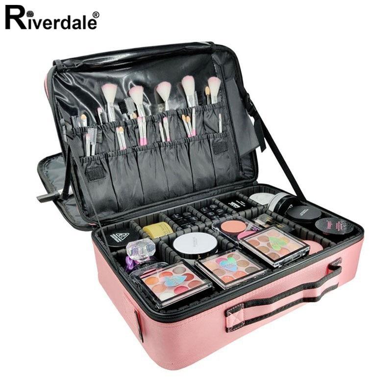 High Quality Women Waterproof Makeup Case Multi Storey Large Beautician Cosmetics Organizer Professional Oxford Manicure Case