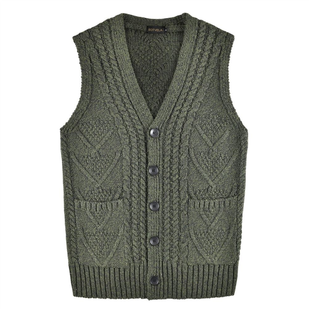 BOTVELA Cable Aran Waistcoat Ribbed Knit Casual Fit Sweater Vest Mens Knitted V-Neck 204