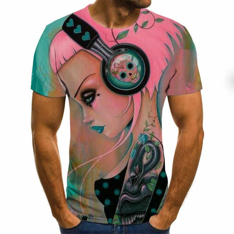 Gitarre T Hemd Neue Männer Frauen Anime Mädchen Sweatshirt 3D Print Musik Violine Zither Kurzarm Mode Hip Hop Top pullover