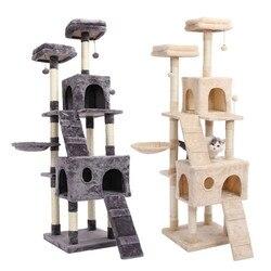 Krajowa dostawa skacząca zabawka dla kota z drabiną drapanie drewno drzewo wspinaczkowe dla koci plac zabaw meble dla kotów drapak w Meble i drapaczki od Dom i ogród na