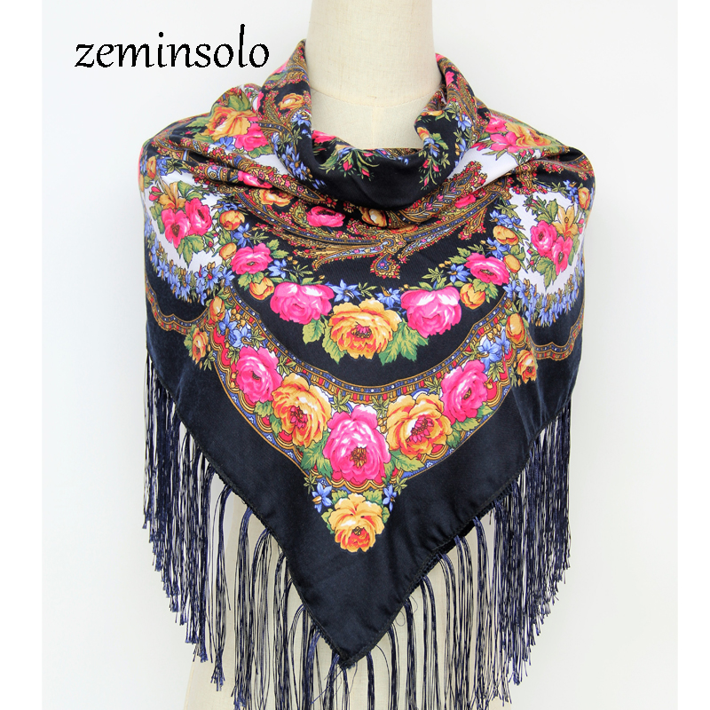 Hot Sale Russian Square Scarf Scarves Cotton Tassels Scarves Shawls Stoles Women Floral Printed Female Pashmina Hijab Bandana