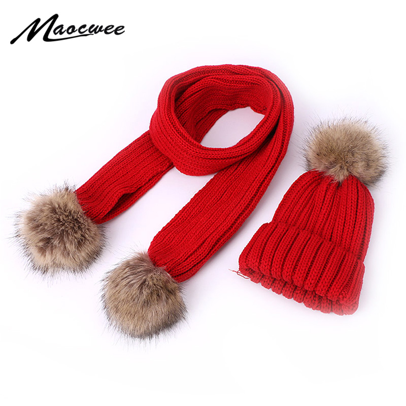 Parent-Child Cute Winter Pompon Hat Scarf Sets With Faux Fur Ball Warm Thick Knitted Hats Beanies Children Women Two Piece Sets