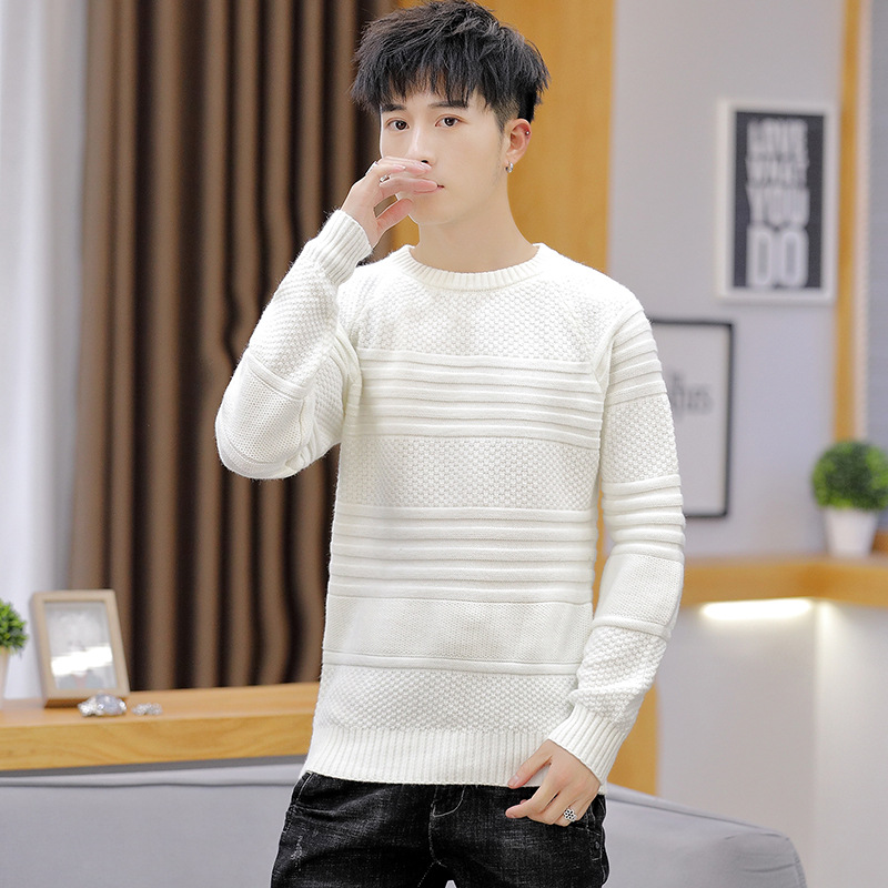 White Mens Sweater Beige Green Light Blue Black Long Sleeve Winter O-Neck Casual Pullovers New Fashion Mens Sweaters