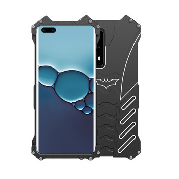 R-just Aluminum Metal Batman Shockproof Frame Phone Cases For Huawei P40 Pro Armor Protection Back Cover For Huawei P30 Pro tanie i dobre opinie Zderzak Batman Frame Zwykły Odporna na brud