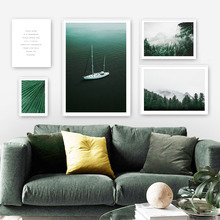 Forest Plant Green Leaf Ocean Wall Art Canvas Painting Nordic Posters And Prints Landscape Pictures For Living Room Decor