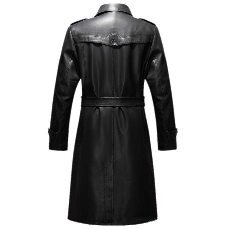 Casaco de couro legítimo masculino, couro carneiro plus size 5xl europeu rússia casaco de trincheira a589