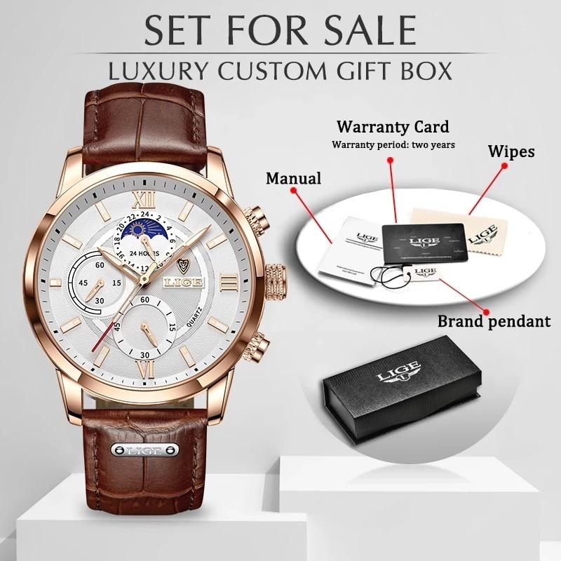 LIGE Men Watches 2021 New Fashion Leather Waterproof Luminous Top Brand Luxury Mens Quartz Wristwatch Men Relogio Masculino+box 6