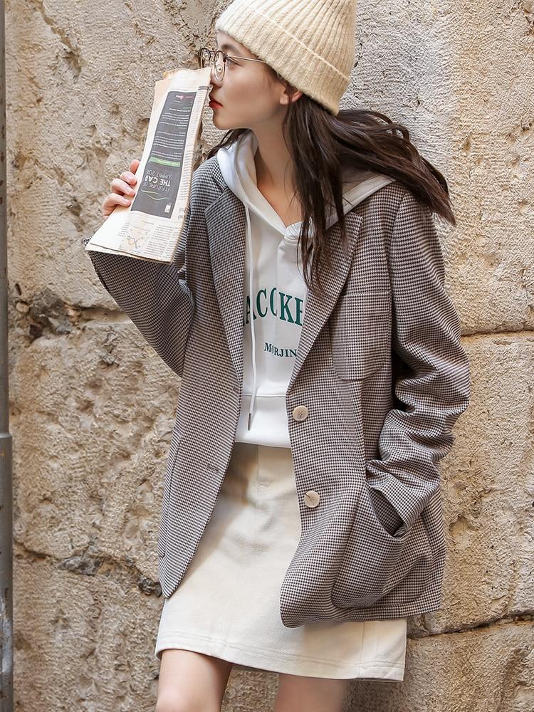 Vintage Loose Stripe Ladies Blazer Stylish Casual Suit Jacket Long Sleeve Blazer Paillette Korean Office Women Blazer MM60NXZ