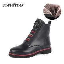 Winter Boots Heel-Shoes Square SOPHITINA Genuine-Leather High-Quality Comfortable Wool