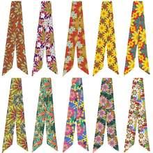 Классический разнообразный шелковый шарф с цветочным принтом