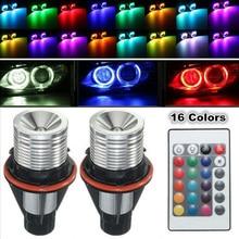 цена на Car Fashionable RGB LED Angel Eyes Halo Ring Light Bulbs Waterproof Aluminum Shell With Remote  For BMW OEM E39 E60 E61 E64