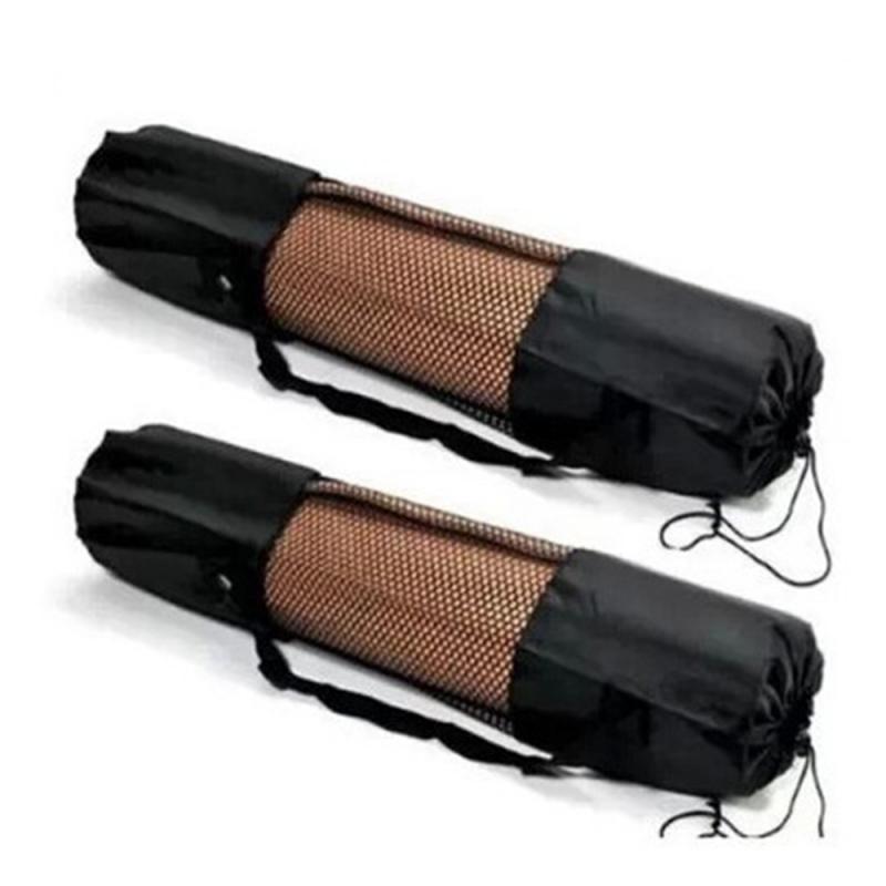 New Portable Yoga Mat Carrier Bag Nylon Mesh Adjustable Strap Washable Exercise Bag Black Yoga Backpack Fitness Sport Tool