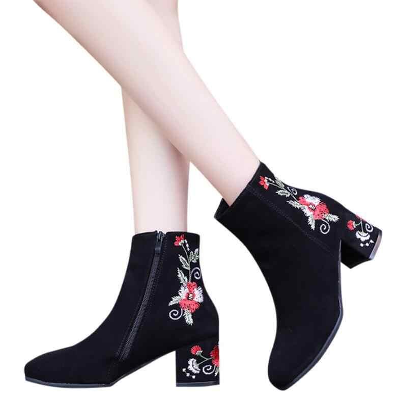 Kadın patik moda nakış sıcak yuvarlak kafa kalın süet işlemeli fermuar tüp yarım çizmeler Rahat topuk 6 cm