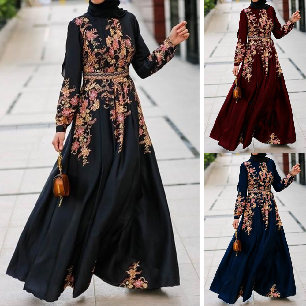 Elegant Kaftan Black Abaya Dubai 2020 Muslim Gown Dress Caftan Islamic Clothing Fashion Bangladesh Long Hijab Evening Dress