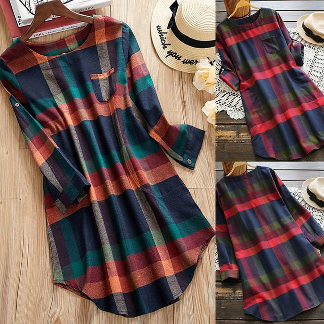 Fahsion Women Dress ELegant Women Ladies Plaid Long Sleeve Loose Pocket Swing Vintage Dress Female Vestidos Drop Shipping