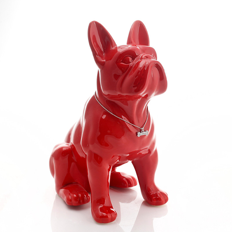 Ceramic French Bulldog Dog Statue Ceramic Crafts Home Decoration Objects Ornament Porcelain Animal Figurine Garden Decor R4197