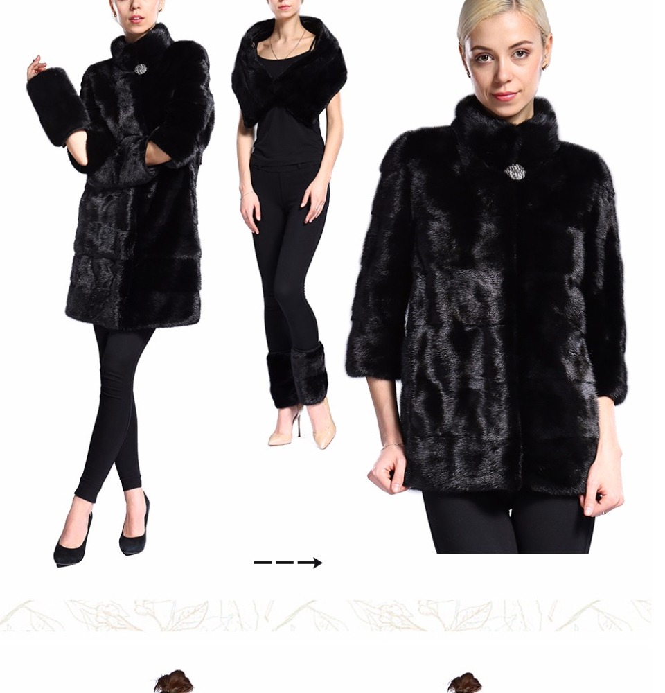 Real Fur Coat Mink Women Winter Natural Fur Mink Coats And Jackets Female Long Warm Vintage Women Clothes 2019 Plus Size 6XL 7XL 75