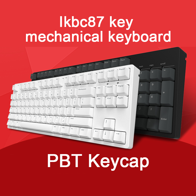 IkBC-C87 Game Machine Keyboard Cherry Black Axis PBT Keycap Cherry Mx Silver Switch Brown Speed Non-backlit Gaming Keyboard