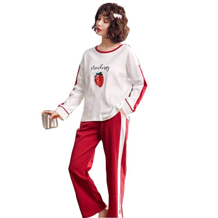 2019 New Style Pajamas Women's Autumn Pure Cotton Women's Long-Sleeve Crew Neck Set-Outer Wear Tracksuit