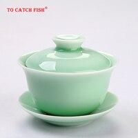Ev ve Bahçe'ten Çay Takımı Setleri'de Çin seladonlar gai wan çay seti kemik çin çayı bardağı Dehua gaiwan çay porselen çay fincanı çay seti yüksek kaliteli yaratıcı su isıtıcısı