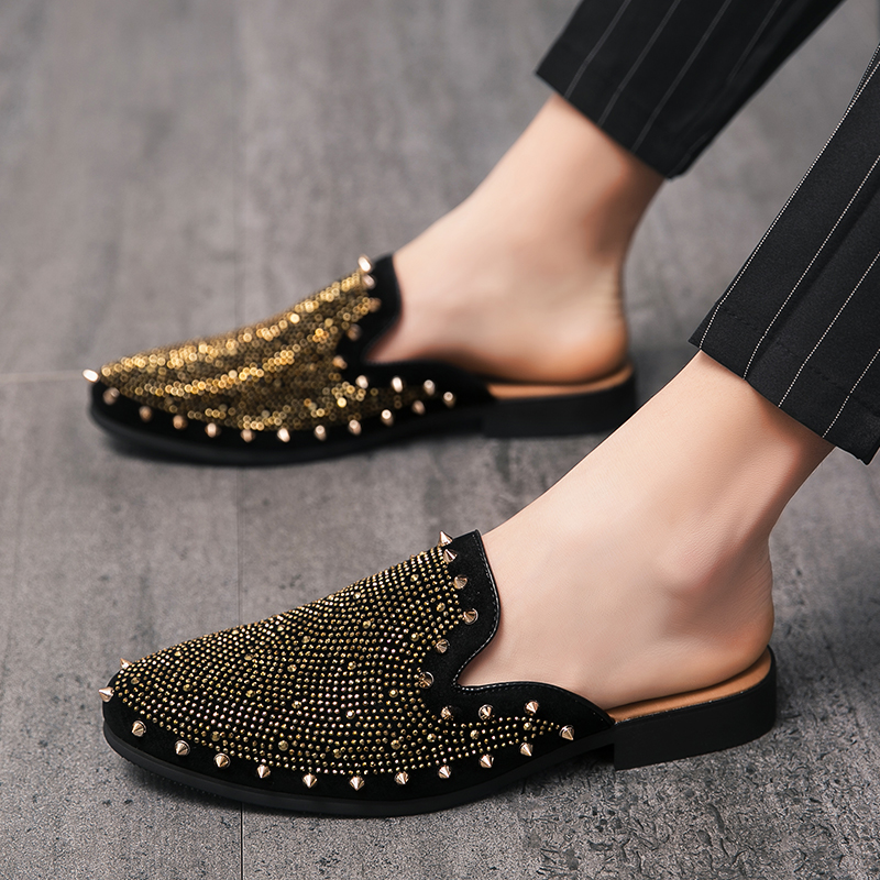 studded men leather shoes designer italian party evening oxfords elegant male dress moccasins vintage spiked pointed shoes man (8)