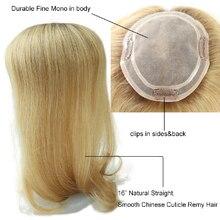 "Alwayshair TP04 16 ""tupé de mujer, cabello Natural ondulado chino Remy, peluca con Clip en Topper, Mono de 120% de densidad, piezas de cabello de gran oferta"