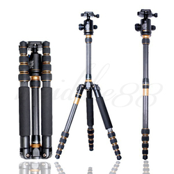 Q777C Carbon Fiber Portable Traveling Extension Tripod Monopod + Ball Head for DSLR Camera DHL Free shipping
