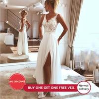 LORIE Beach Wedding Dress 2019 Side Split Top Lace Boho Bride Dress Sexy Appliques Wedding Gown Custom Made Vestidos de novia