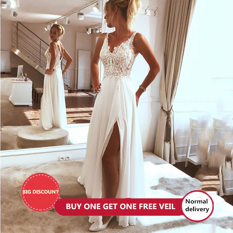 LORIE plage robe de mariée 2019 côté fendu haut dentelle Boho robe de mariée Sexy Appliques robe de mariée sur mesure Vestidos de novia